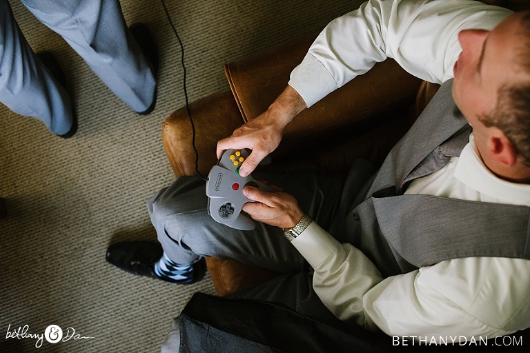 The groomsmen play games before the ceremony