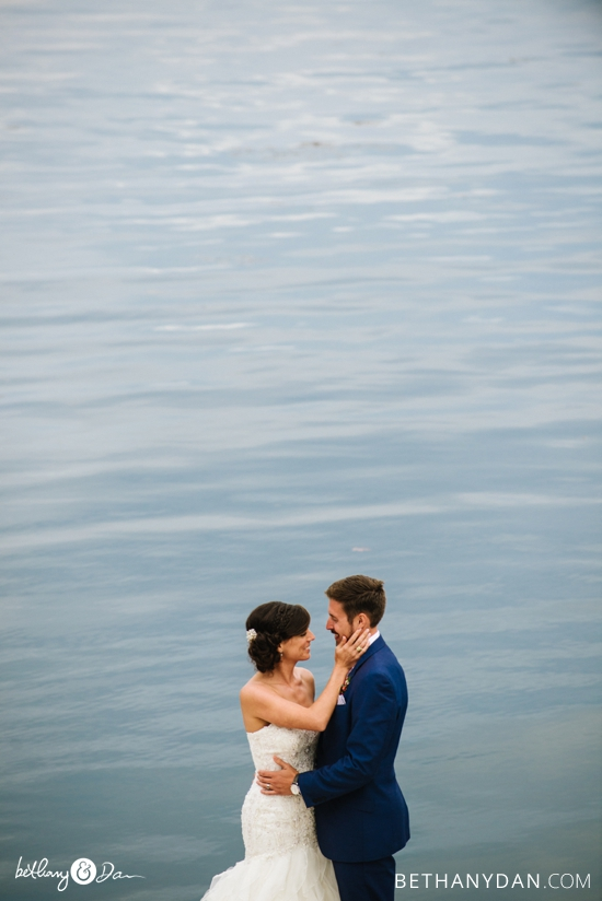 The bride and groom and the harbor