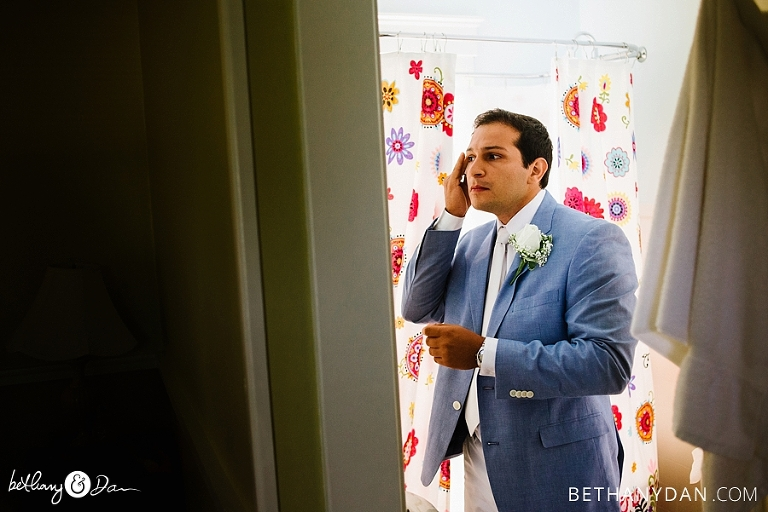 The groom gets ready