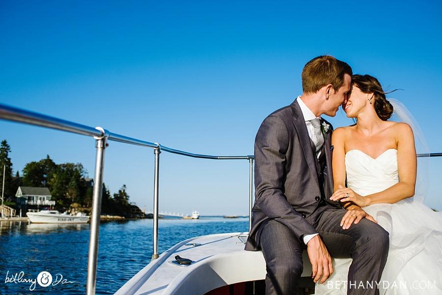 The couple riding around the harbor
