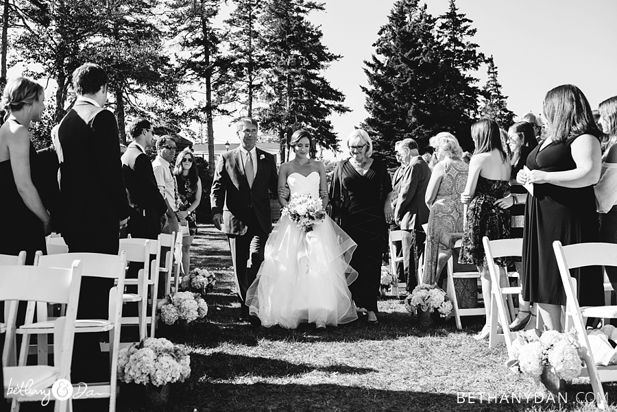Bride and family walking down the Aisle in Southport Maine
