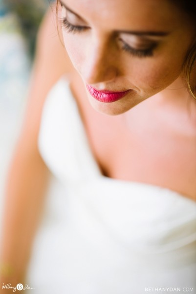 Close up of the bride's lips