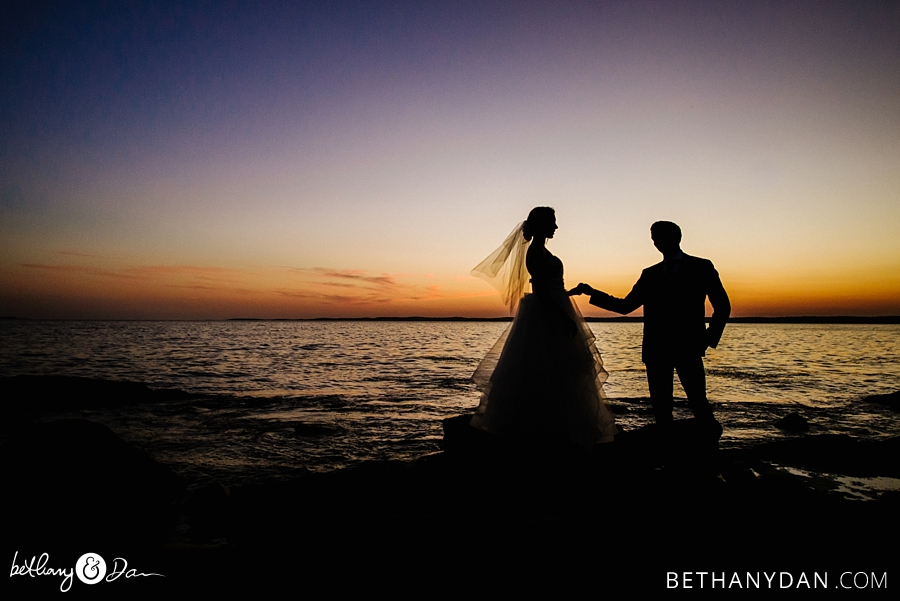 The couple and the sunset over the Sheepscott River Maine