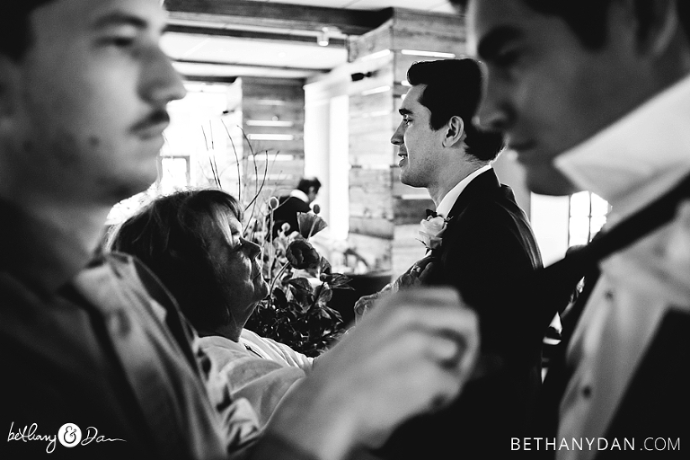 The groom gets ready