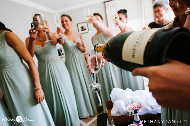 Pouring champagne before the ceremony