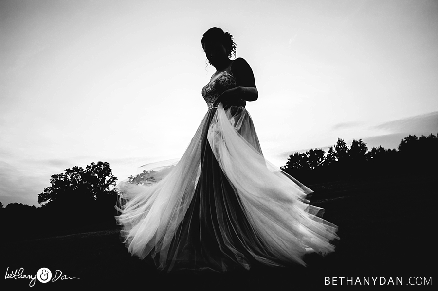 The bride and her twirling dress