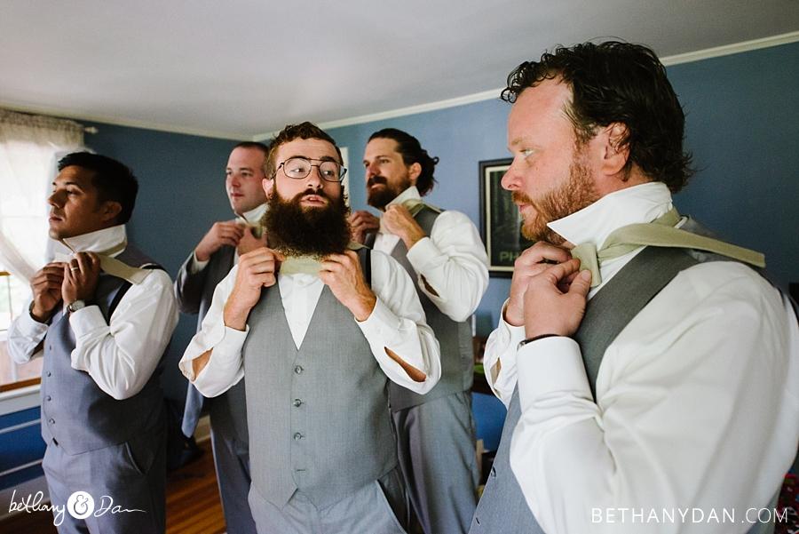 The groomsmen tie bowties