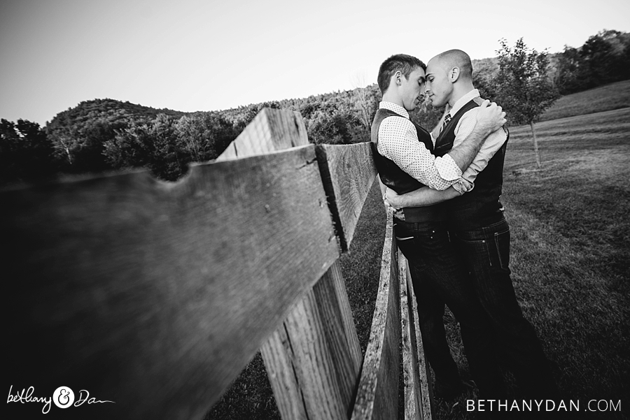 The grooms embracing