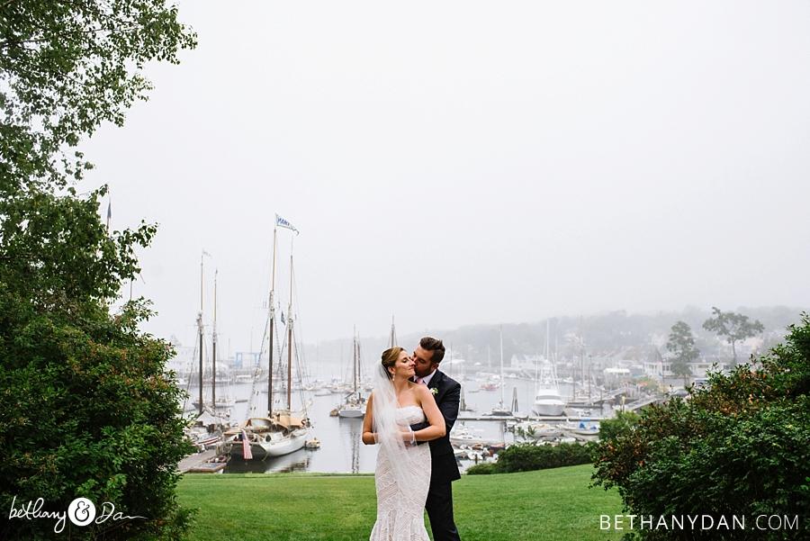 Bride and Groom with Camden Harbor in the background