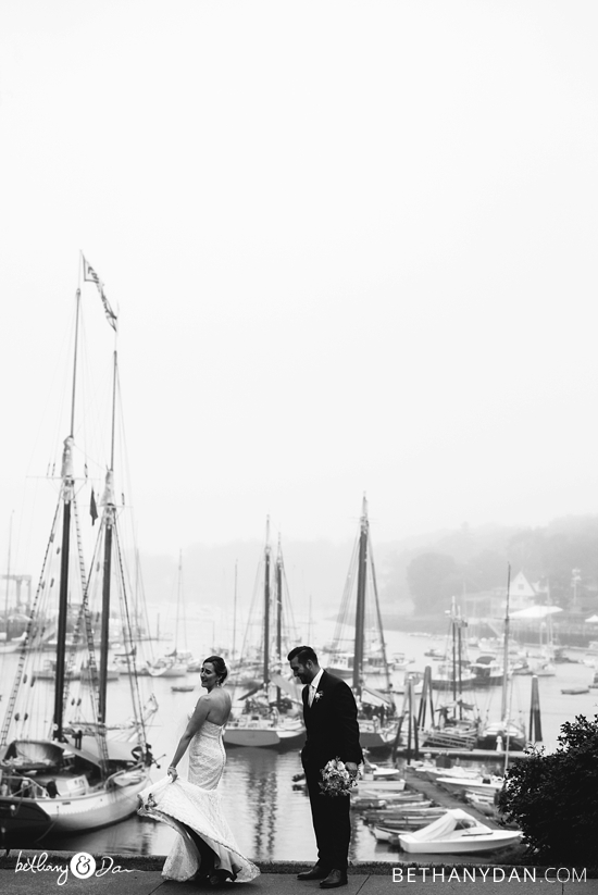 Bride and Groom with the harbor in the background